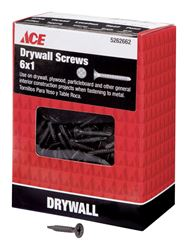 Ace  No. 6   x 1 in. L Phillips  Drywall Screws  Bugle Head  Black Phosphate  Tapping Thread  1 lb.