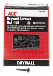 Ace  No. 6   x 1-1/8 in. L Phillips  Drywall Screws  Bugle Head  Black Phosphate  Tapping Thread  1