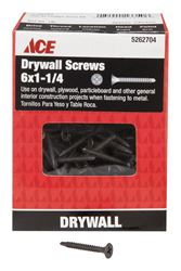 Ace  No. 6   x 1-1/4 in. L Phillips  Drywall Screws  Bugle Head  Black Phosphate  Tapping Thread  1