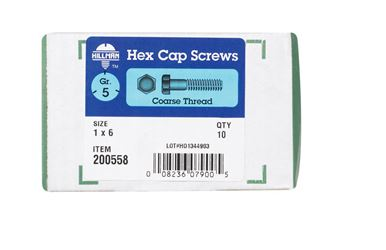 Hillman  Hillman  Heat Treated Zinc  Steel  Coarse  Hex Head Cap Screw  1 in. Dia. x 6 in. L 10 box