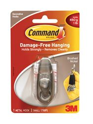 3M Command  Small  Forever Classic  Hook  2-5/8 in. L Metal  1 lb. 1 pk