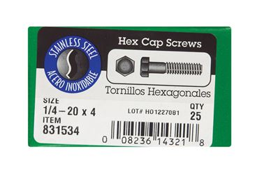 Hillman  Hillman  Stainless Steel  Coarse  Hex Head Cap Screw  1/4-20 in. Dia. x 4 in. L 25 box