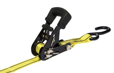 Pro Grip  Polyester  Standard  Tie Down  16 ft. L 1500  Double J Hooks  Black/Yellow