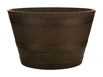 Southern 20.5 in. W Brown Resin Whiskey Barrel Planter