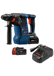 Bosch 18 V EC Brushless 1 In. SDS-plus® Bulldog™ Rotary Hammer Kit with (2) CORE18 V 6.3 Ah Batteries