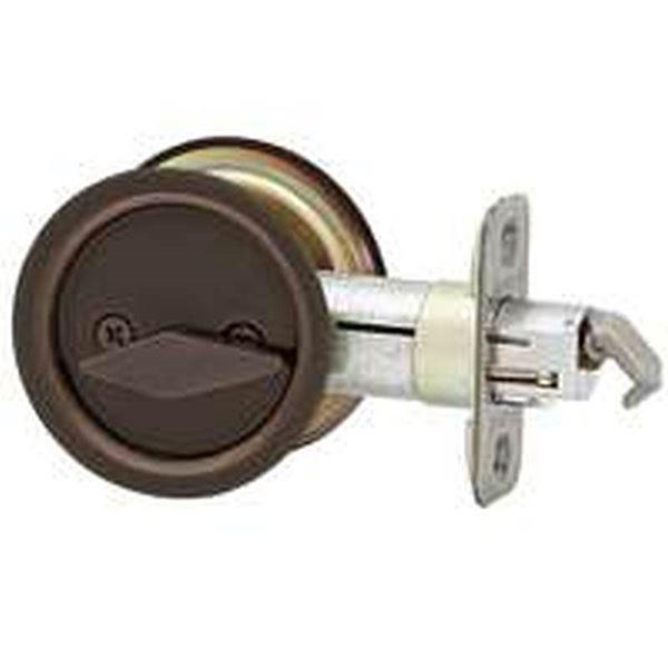 Kwikset Non-Handed Round Privacy Pocket Door Lock, '2-3/8 in Backset on