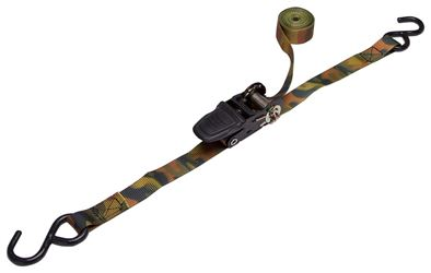 """ProSource 0158121 Ratchet Tie-Down, 10 ft L, S-Hook, Polyester Strap, Camo"""