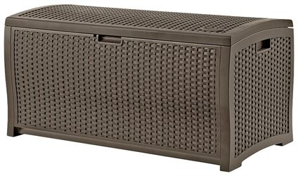 Suncast DBW9200 Wicker Deck Box, 99 gal Storage Capacity, 50 in W x 25-1/2 in H, Resin