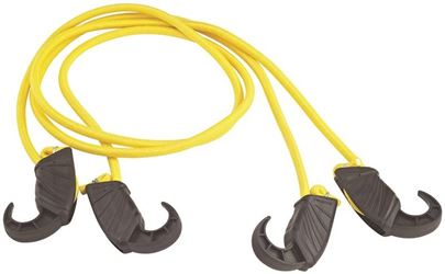 """ProSource 0391227 Adjustable Bungee Cord, 8 mm Dia x 48 in L, Plastic Hook, Non-Scratch Durable Hook End, Yellow"""