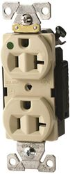 Arrow Hart AH8300V Straight Blade Duplex Receptacle, 125 V, 20 A, 2 Pole, 3 Wire, Ivory