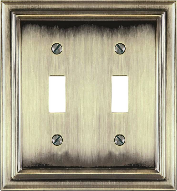 AmerTac Continental 94TTBB Rectangular Wall Plate, 2 Gang, 5 in L x 5 in W x 1/4 in D
