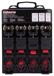 """ProSource 1235472 Ratchet Tie-Down Kit, 500 lb Work, 15 ft L, S-Hook, Polyester Webbed, Red"""