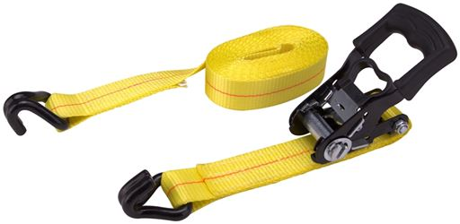 """ProSource 1327014 Heavy Duty Ratchet Tie-Down, 1666 lb Work, 15 ft L, J-Hook, Polyester Webbed, Yellow"""