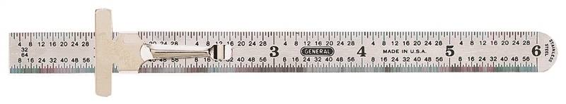 General Tools 300/1 Flexible Precision Measuring Rule With Pocket Clip, 6 in L X 15/32 in W