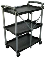 Pack-N-Roll 85-188 Folding Collapsible Service Cart, 65 lb/Level, ABS, Steel, Aluminum, Rubber, Black