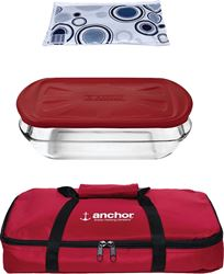 Anchor 91087 Tote Set With Embrace Lid, 3 Qt, Red - 3 Pack