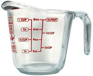 Anchor Hocking 551750L13 Measuring Cups, Open Handle, Glass, 1 Cup