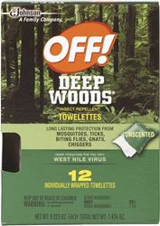 OFF! Deep Woods 54996 Insect Repellent Towelette, Liquid, 12 CT Pack 12 Pack