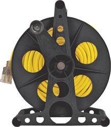 Power Zone ORCR3002 Handle Driven Cord Storage Reel With Stand, 100 ft, Plastic, Black