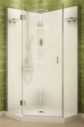 Maax Papaya 105545 3-Piece Shower Stall Kit, 36 in L X 36 in W X 72 in H, Polystyrene, Chrome
