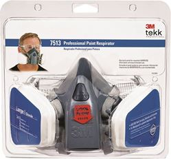 3M TEKK Protection 7513PA1-A/R7513ES Valved Paint Spray Respirator, L Mask, Dual Cartridge, Silicone