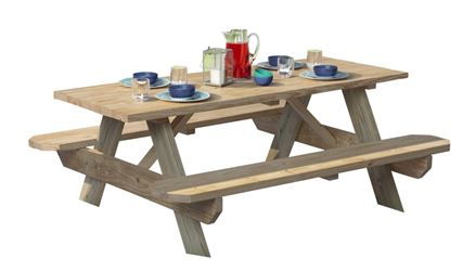 UPF 106116 Picnic Table, Pine Table, Southern Yellow