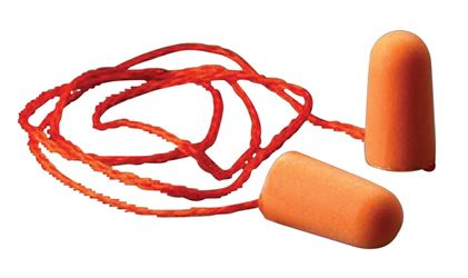3M 1110 Tapered Ear Plug With Corded, 29 Db, Polyurethane Foam, Orange - 100 Pack