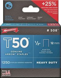 ARROW 50824 Heavy Duty Crown Staple, 3/8 in Flat Crown, 1/2 in L Leg, Galvanized Steel, For Use With T50OC Stapler