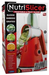 As Seen On TV NutriSlicer 3 in 1 Countertop Vegetable and Fruit Slicer, Red