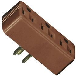 Cooper 1147B-BOX Outlet Adapter, 125 V, 15 A, 3 Outlet, Brown