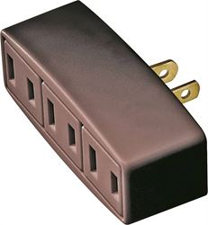 Cooper 1747B-BOX Outlet Tap/Adapter, 125 V, 15 A, 3 Outlet, Brown