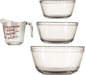 Anchor 81104L11 Mixing Bowl, 4 Pieces, Glass, Clear