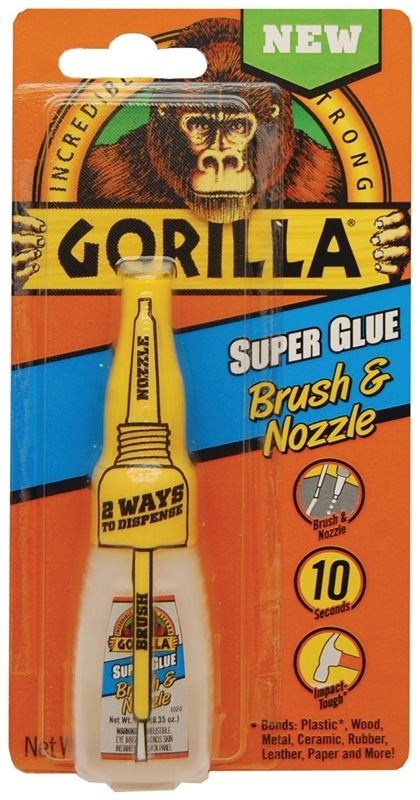 Gorilla 7500102 Super Glue Brush and Nozzle, 10 g, Bottle, White Water/Straw, Liquid