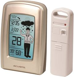 AcuRite 00827CASB Wireless Forecaster With Weatherman, 16 - 98% RH, LED Display