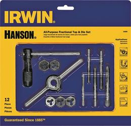 Hanson 24605 Fractional/Machine Screw Tap and Hex Die Set, 12 Pieces