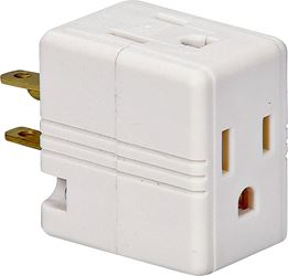 Cooper 1482W-BOX Outlet Cube Tap/Adapter, 125 V, 15 A, 3 Outlet, White