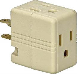 Cooper 1482V Grounding Cube Outlet Adapter, 125 V, 3 Outlet, 3 Wire, White Plastic