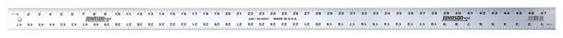 Johnson J48 Heavy Duty Straight Edge Measuring Rule, 48 in L X 2 in W X 7/64 in T, Aluminum