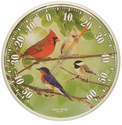 AcuRite 01776CA Weather Resistant Songbird Dial Thermometer, 12-1/2 in Dia