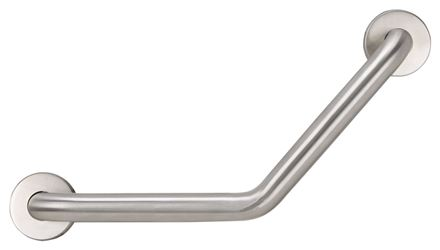 """Boston Harbor Angled Grab Bar, 1-1/4 in Dia x 16 in L, Stainless Steel"""