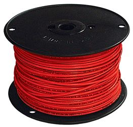 Southwire 12Red-Solx500 Tungsten Quartz Single Ended Building Wire, 12 Awg, 500 Ft, 15 Mil Thhn