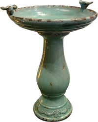 Alpine TLR102TUR Bird Bath With (2) Turquoise Birds, 18 in L X 16 in W X 25 in H, 1 Pieces, Ceramic, Turquoise