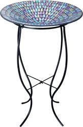 Alpine GRS470A-18 Mosaic Bird Bath With Metal Stand, 18 in L X 18 in W X 27 in H, Glass, Yellow/Purple/Blue