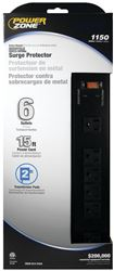 Powerzone OR802135 Surge Protector Strip, 125 V, 15 A, 6 Outlet, Black