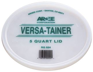Argee Rg524/50 Bucket Lid, 8-3/4 In Dia, 1/2 In D, Plastic, For Use With Versa-Tainer 5 Qt Clear Container