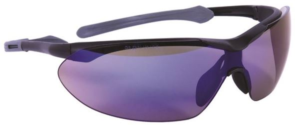 Flight 55434 Safety Glasses, Blue Mirror, Black