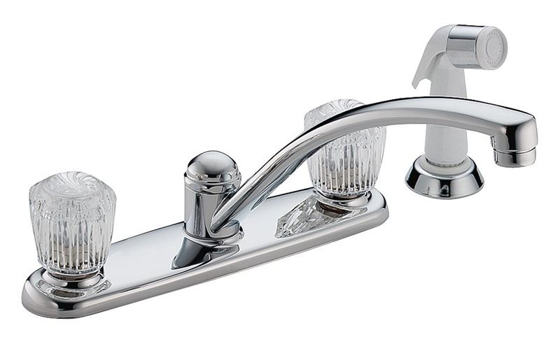 Delta Classic 2402lf Kitchen Faucet With Side Spray 2 Faucet Handle 5 7 16 In H Spout Brass Chrome Vorg0763441 2402lf