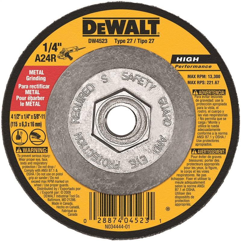 81 Pack Oxide Depressed Center Wheel 24 Grit Alum 7 in Dia 1//4 in Thick