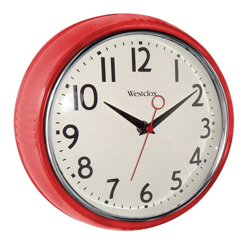 9-1//2 In Round Westclox 32042R Extra-Thick Retro Wall Clock Red