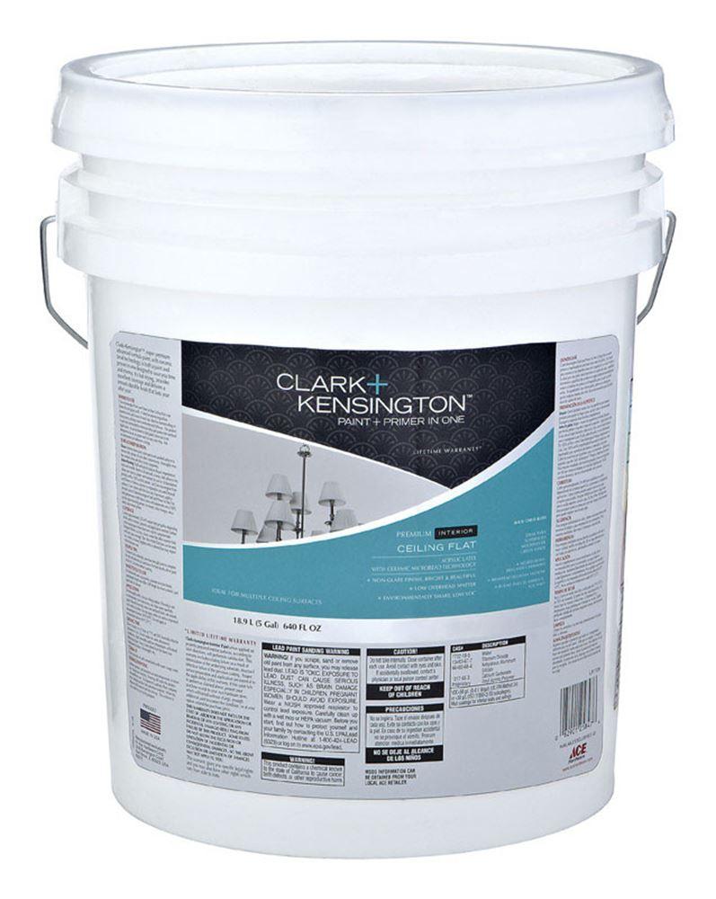 Clark kensington interior acrylic latex paint primer ceiling white flat 5 gal